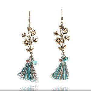 Delicate Flower Tassel Stone Earrings